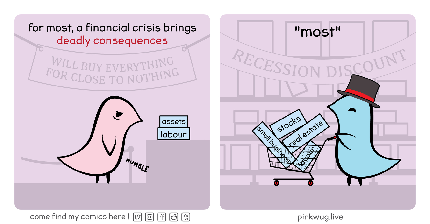 """pinkwug comic: A sad hungry pink wug selling his assets and labour with the caption: """"For most, a financial crisis brings deadly consequences""""  A happy wug with a top hat strolling with a shopping cart full of real estate and stocks with the caption: """"most"""""""